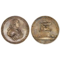 Mexico, large bronze medal, (death of) Charles III, 1788, Academy of San Carlos.