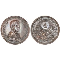 Mexico City, Mexico, large bronze proclamation medal, Ferdinand VII, 1808, support of Bustamante.