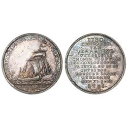 Netherlands, silver medal, 1781, Van der Wint and the escape of the Dutch fishing fleet.