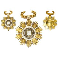 Peru, gold star decoration with diamonds and wreath hanger, (1853), National Gratitude to the Codifi