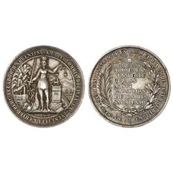 Lima, Peru, high-relief silver medal, 1864, Congress of South American Republics.