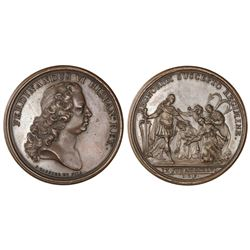 Madrid, Spain, bronze proclamation medal, Ferdinand VI, 1746.