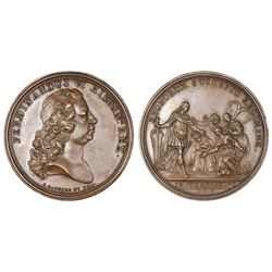 Madrid, Spain, restrike bronze proclamation medal, Ferdinand VI, 1746.