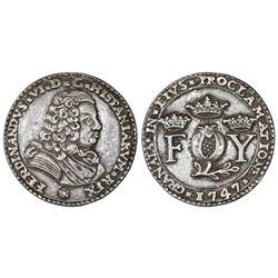 Granada, Spain, small cast silver proclamation medal, Ferdinand VI, 1747, rare.