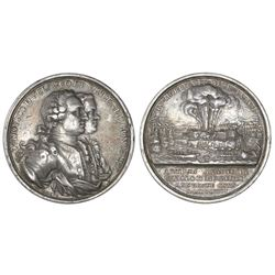 Madrid, Spain, large silver medal, 1762, capture of Morro Castle in Havana, Cuba, very rare.