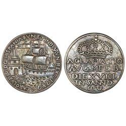 Santander, Spain, small silver proclamation medal, Charles IV, 1789, rare, PCGS AU55.