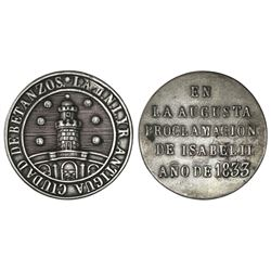 Betanzos, Spain, small silver proclamation medal, Isabel II, 1833.