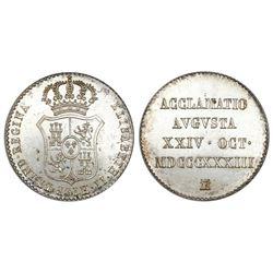 Madrid, Spain, proclamation medal, Isabel II, 1834, NGC MS 65.