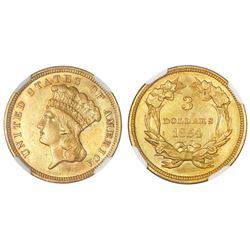 USA (Philadelphia mint), $3 Indian Princess, 1854, NGC AU details / harshly cleaned.