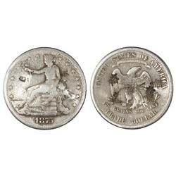 USA (San Francisco mint), trade dollar, 1875-S, with chopmarks as from circulation in Asia.