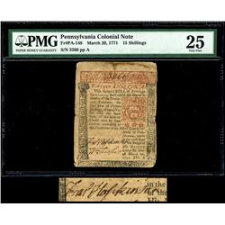 Pennsylvania, 20 shillings, March 20, 1771, serial 3266, plate A, Declaration signer Francis Hopkins