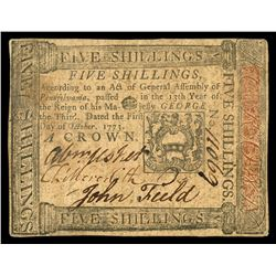 Pennsylvania, 5 shillings, Oct. 1, 1773, serial 11069.
