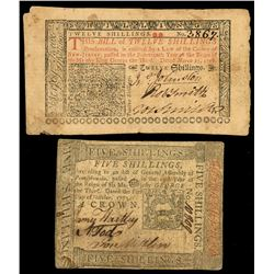 Lot of two colonial notes: New Jersey, 12 shillings, March 25, 1776, serial 3867, and Pennsylvania,