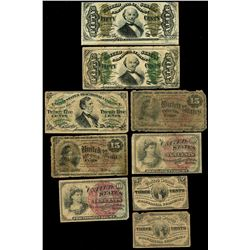 Lot of nine USA (Washington, D.C.) fractional notes, 1863.