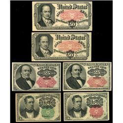 Lot of six USA (Washington, D.C.) fractional notes, 5th issue, 1874.