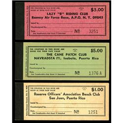 Lot of three Puerto Rico, military chit booklets, various denominations, ca. mid-1900s, ex-Roehrs.