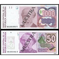 Lot of two Argentina, Banco Central, no date (1985-91), specimen notes: 1,000 and 50 australes.