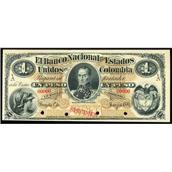 Bogota, Colombia, Banco Nacional de los Estados Unidos, 1 peso specimen, 1-3-1881, series A.