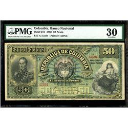 Bogota, Colombia, Banco Nacional, 50 pesos, 1-3-1888, series A, serial 57594, PMG VF 30.