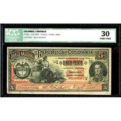 Bogota, Colombia, Banco Nacional, 5 pesos, 4-3-1895, series A, serial 1005382, ICG VF 30.