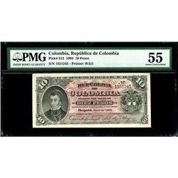 Bogota, Colombia, Republica de Colombia, 10 pesos, 1904, serial 1551245, PMG AU 55.