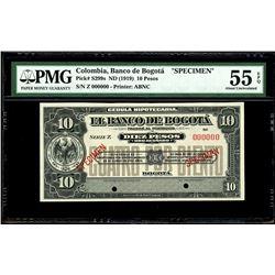 Bogota, Colombia, Banco de Bogota, 10 pesos specimen, no date (1919), series Z, PMG AU 55 EPQ.