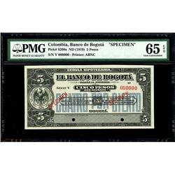 Bogota, Colombia, Banco de Bogota, 5 pesos specimen, no date (1919), series Y, PMG Gem UNC 65 EPQ.