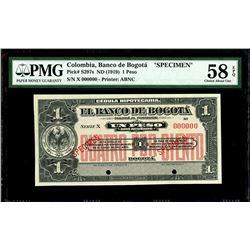 Bogota, Colombia, Banco de Bogota, 1 peso specimen, no date (1919), series X, PMG Choice AU 58 EPQ.