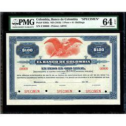 Bogota, Colombia, Banco de Colombia, 1 peso / 4 shillings specimen, no date (1919), series Z, PMG Ch