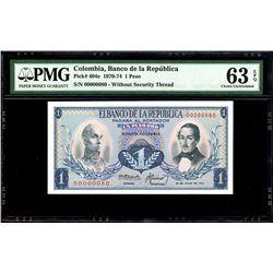 Bogota, Colombia, Banco de la Republica, 1 peso oro, 20-7-1972, serial 00000080, PMG Choice UNC 63 E