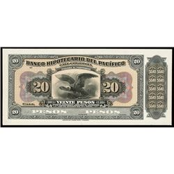 Cali, Colombia, Banco Hipotecario del Pacifico, 20 pesos proof, no date (1923).