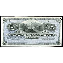 Cartagena, Colombia, Banco del Departamento de Bolivar, 5 pesos front proof, 1-3-1888.