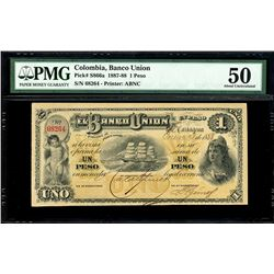Cartagena, Colombia, Banco Union, 1 peso, 9-1-1888, serial 68264, PMG AU 50, finest known in PMG cen