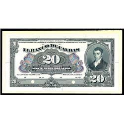 Manizales, Colombia, Banco de Caldas, 20 pesos front proof, no date (1910s).