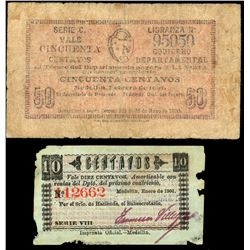 Lot of two Medellin, Colombia, Departamento de Antioquia, 1901 notes: 50 centavos, series C, serial