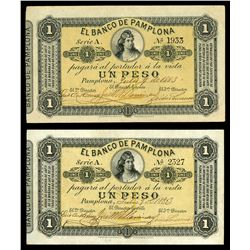 Lot of two Pamplona, Colombia, Banco de Pamplona, 1 peso, 6-7-1883, series A: serial 1933; serial 23