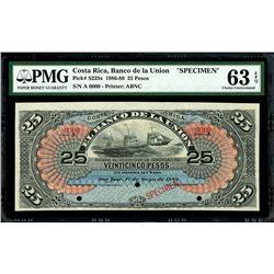 San Jose, Costa Rica, Banco de La Union, 25 pesos specimen, 1-5-1889, series A, PMG Choice UNC 63 EP