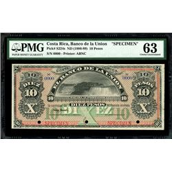 San Jose, Costa Rica, Banco de La Union, 10 pesos specimen, 18XX (1886-89), PMG Choice UNC 63.