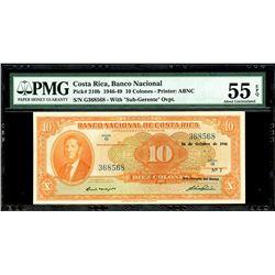 San Jose, Costa Rica, Banco Nacional, 10 colones, 16-10-1946, series G, serial 368568, PMG AU 55 EPQ