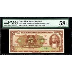 San Jose, Costa Rica, Banco Nacional, 5 colones, 8-3-1948, series G, serial 750297, PMG AU 58 EPQ