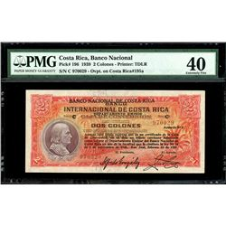San Jose, Costa Rica, Banco Nacional, 2 colones, 15-2-1939, series C, serial 970029, PMG XF 40.