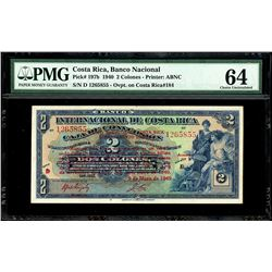 San Jose, Costa Rica, Banco Nacional, 2 colones, 9-5-1940, series D, serial 1265855, PMG Choice UNC