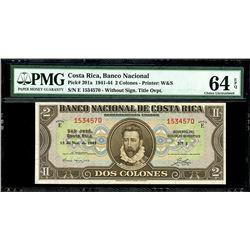 San Jose, Costa Rica, Banco Nacional, 2 colones, 28-2-1945, series E, serial 1534570, PMG Choice UNC