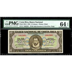 San Jose, Costa Rica, Banco Nacional, 2 colones, 28-2-1945, series E, serial 1862881, PMG Choice UNC
