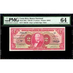 San Jose, Costa Rica, Banco Nacional, 2 colones, 13-12-1946, series F, serial 280139, PMG Choice UNC