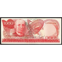 San Jose, Costa Rica, Banco Central, 1000 colones, 15-6-1991, series C, serial C46081858, offset pri