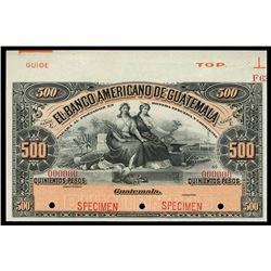 Guatemala, Banco Americano de Guatemala, 500 pesos specimen, no date (1895-1926), series E.