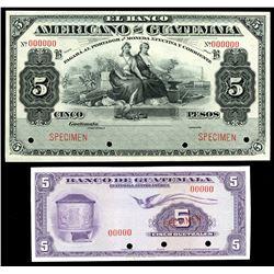 Lot of two Guatemala 5 pesos specimens: Banco Americano de Guatemala, no date (1895-1926), series B;