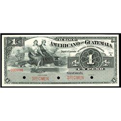 Guatemala, Banco Americano de Guatemala, 1 peso specimen, no date (1895-1926), series A.