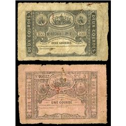 Lot of two Haiti, Republic of Haiti, 16-4-1827, notes: 2 gourdes, series I, serial 42344; 1 gourde,